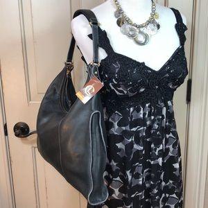 NWT Luz Claiborne Black Leather Carry All  Bag